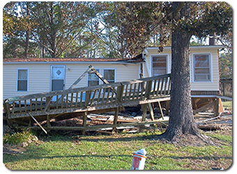 Winston Salem Public Adjuster NC - Hurricane Irene - Damaged Mobile Home in Oriental NC