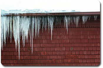 Ice Damage - Icicles - A sign of ice dam issues